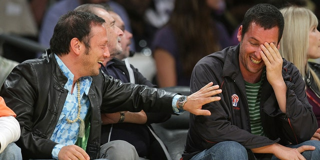 Elevate Schneider, left, and Adam Sandler, appropriate, motivate Game 5 of the Western Conference Semifinals all the contrivance in which thru the 2009 NBA Playoffs at Staples Center on Can even neutral 12, 2009 in Los Angeles, Calif. (Photo by Noel Vasquez/Getty Photos)