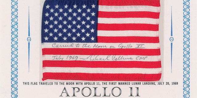 The flag that was flown in orbit during the Apollo 11 mission