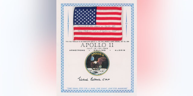 The flag that was launched into orbit during the Apollo 11 mission.