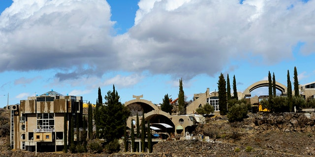 A view of Arcosanti, a futuristic city that has never been finished, is seen above.