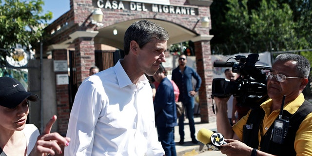 Beto O'Rourke leaves a migrant shelter in Ciudad Juarez, Mexico Sunday. (AP Photo/Christian Chavez)