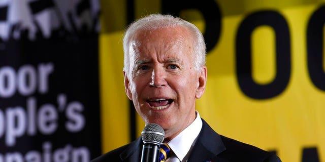 FILE - In this June 17, 2019, file photo, Democratic presidential candidate, former Vice President Joe Biden, speaks in Washington. (AP Photo/Susan Walsh, File)