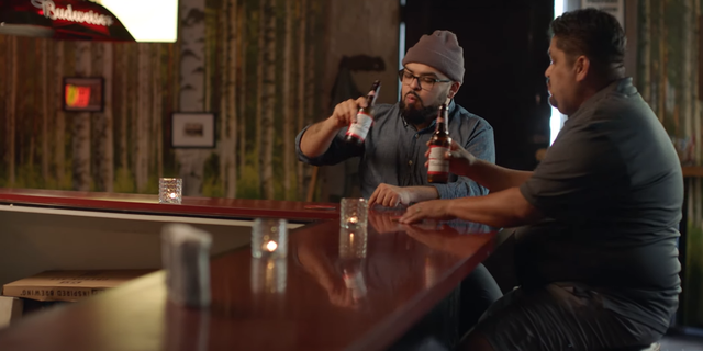 Victor and Mark, seen here, are one of the stepfather/stepchild pairs highlighted in Budweiser's short Father's Day campaign.