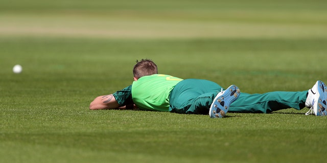 South Africa's bowler Chris Morris lies on the ground to avoid a swarm of bees that have come across the ground during the Cricket World Cup match. (AP Photo/Scott Heppell)