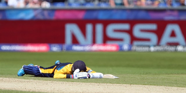 Sri Lanka's player laying face down on the ground to avoid a swarm of bees that have come across the ground during the Cricket World Cup match between Sri Lanka and South Africa. (AP Photo/Scott Heppell)