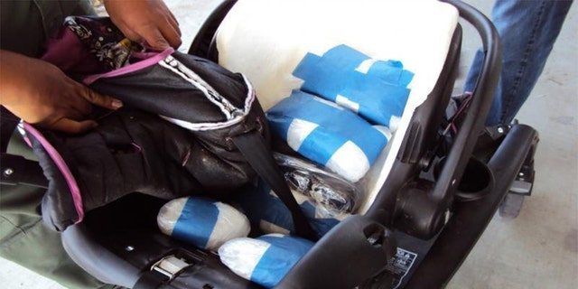 The U.S. Border Patrol says agents arrested a woman in California after finding drugs in her child's car safety seat. (U.S. Customs and Border Protection)