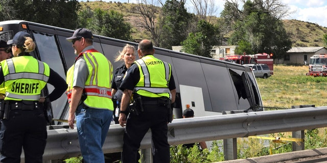 A charter bus carrying more than a dozen people ran off the highway after striking a bridge support Sunday in southern Colorado, killing a few people and injuring several others, a state patrol official said.