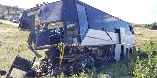 Two people were killed and 13 were injured when a charter bus carrying a church group crashed in Colorado on Sunday.