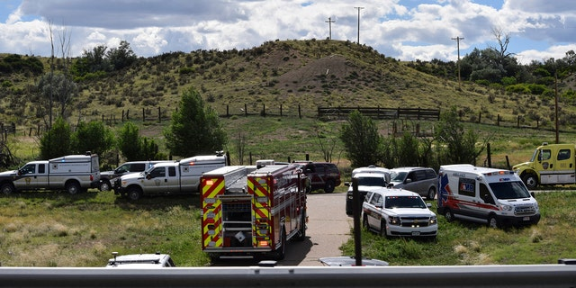 Emergency crews respond to a bus crash on southbound Interstate 25 in Pueblo County, Colo., Sunday afternoon, June 23, 2019.