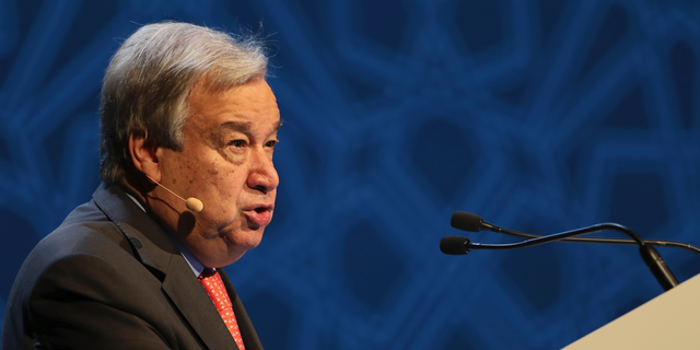 United Nations Secretary General Antonio Guterres, talks to the audience at the opening ceremony of the United Nations climate change summit in Abu Dhabi, United Arab Emirates, Sunday, June 30, 2019.