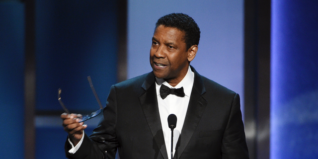 Denzel Washington addresses the audience during the 47th AFI Life Achievement Award ceremony honoring him.