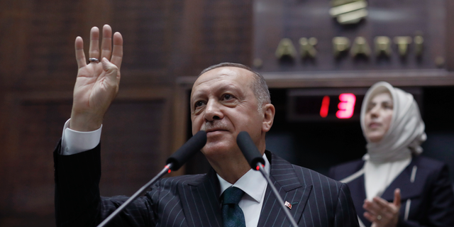 Turkey's President Recep Tayyip Erdogan addresses his statute celebration MPs, in Ankara, Turkey, Tuesday, Jun 25, 2019, dual days after Ekrem Imamoglu, a claimant of a physical antithesis Republican People's Party, won a choosing for mayor of Istanbul. Erdogan addressed his AK Party's weekly meeting, a initial time he speaks given a Istanbul mayoral choosing Sunday, that was a large reversal for him and his party. (AP Photo/Burhan Ozbilici)