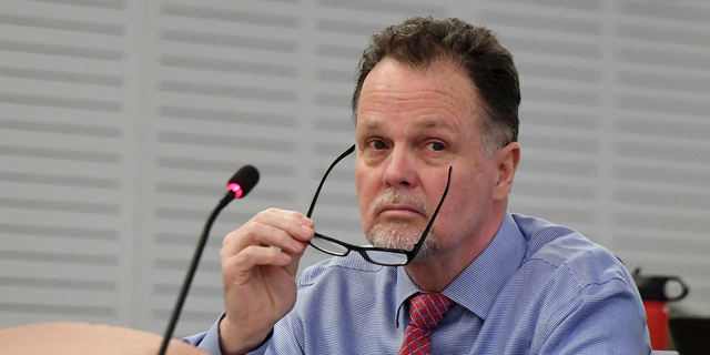 """FILE - In this Jan. 7, 2019, file photo, murder defendant Charles Ray Merritt sits in San Bernardino County Court prior to opening statements in San Bernardino, Calif. A jury verdict will be read in the case of a Southern California man charged with killing a family of four and burying their bodies in the desert. The verdict will be read Monday, June 10, 2019, in court in San Bernardino in the quadruple murder case against 62-year-old Charles """"Chase"""" Merritt. (Will Lester/The Orange County Register via AP, Pool, File)"""