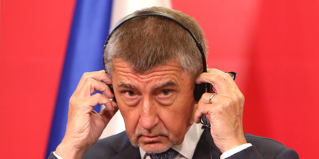 Czech Republic's Prime Minister Andrej Babis takes part in a news conference with North Macedonia's Prime Minister Zoran Zaev after their meeting at the government building in Skopje, North Macedonia, Tuesday, June 11, 2019. Prime Minister Babis arrived Tuesday in an one day official visit to North Macedonia. (AP Photo/Boris Grdanoski)