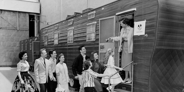 In this Aug 20, 1957, record photo, Walt Disney's Mouseketeers enter a vast trailer that serves as their propagandize on a Disney lot in Hollywood, Calif. Greeting them is their clergyman Jean Seaman of a Los Angeles Public School System. Jimmy Dodd, red-haired and fortyish, is master of Mouseketeer ceremonies. Mouseketeer Annette Funicello can be seen during distant left. Police have reliable that a physique found in Apr 2019 during an Oregon home is that of blank male Dennis Day, who was an strange member of Disney's The Mickey Mouse Club.