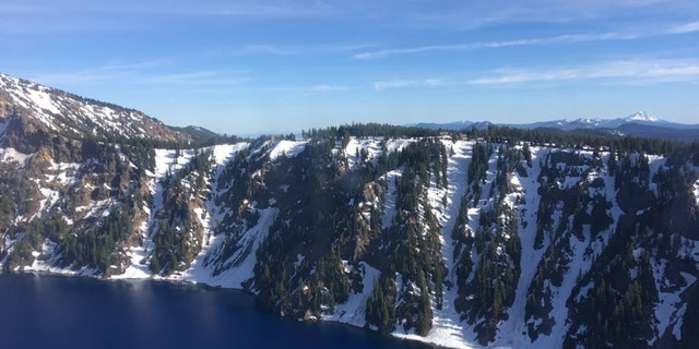 Aerial view of the caldera of Crater Lake National Park. (U.S. Coast Guard photo courtesy of Sector North Bend)