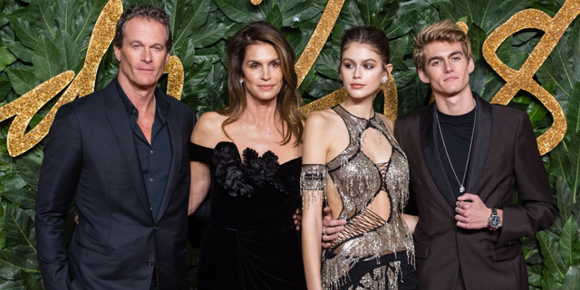 """The photogenic Crawford-Gerber family — supermodel Cindy Crawford, former-model husband Rande Gerber and their children, Kaia Gerber and Presley Gerber, who also model — decided to spend Father's Day pigging out on """"every picture"""" on the IHOP menu."""