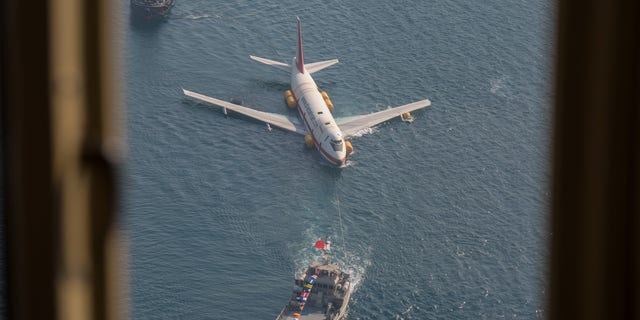 The old plane, which was built in 1981, was submerged near Bahrain ahead of the park's opening later this year.