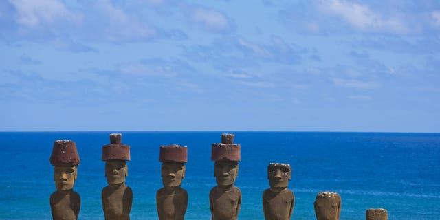 Statues at Anakena Beach, Easter Island, Chile. (Photo by Eric LAFFORGUE/Gamma-Rapho via Getty Images)