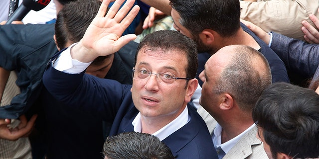 """Thank you, Istanbul,"" Ekrem Imamoglu, 49, said to the tens of thousands of people who gathered to mark his victory after unofficial results showed he won a clear majority of the vote. (AP Photo/Lefteris Pitarakis)"