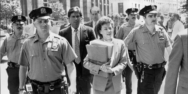 Elizabeth Lederer leaving court for lunch. July 08, 1990. (Photo by Thomas Guercio/New York Post Archives /(c) NYP Holdings, Inc. via Getty Images)