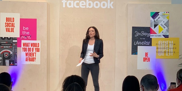 Facebook COO Sheryl Sandberg vocalization during a amicable network's International Media Day during a company's domicile in Menlo Park, Calif. (Brian Flood, Fox News)