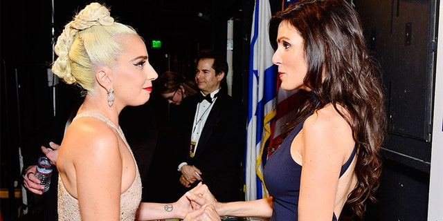 Lady Gaga and Taya Kyle attend the 32nd American Cinematheque Award Presentation Honoring Bradley Cooper on Nov. 29, 2018, in Beverly Hills, Calif. (Photo by Jerod Harris/Getty Images for American Cinematheque)