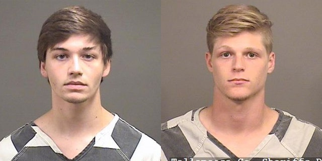 "Thomas ""Landon"" Grant, left, and Jacob Frye, right, were charged with animal cruelty after they allegedly beat a duck with a baseball bat in May, officials said."