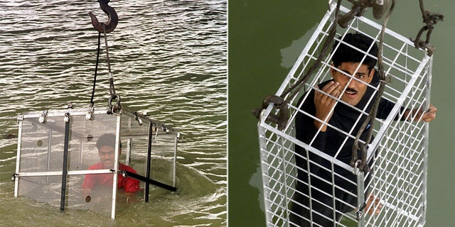 Chanchal Lahiri, seen here attempting two different magic tricks in the Hooghly River in Kolkata, has been declared missing and is feared dead after his latest trick went wrong.