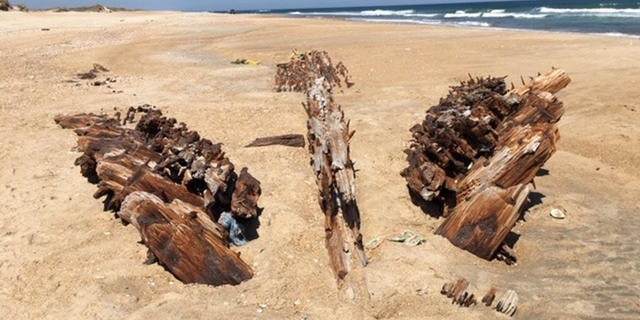 The shipwreck revealed on Hatteras Island.