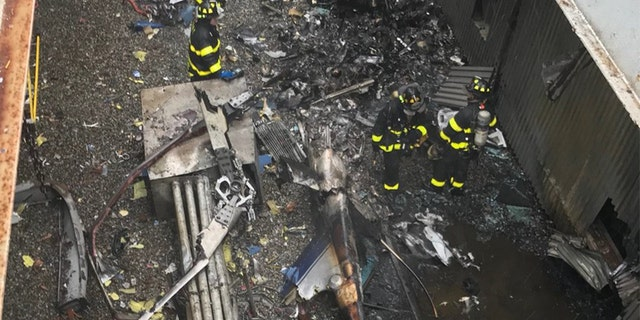 The FDNY released this image from the roof of 787 Seventh Avenue in Midtown Manhattan, the scene of Monday's helicopter crash.