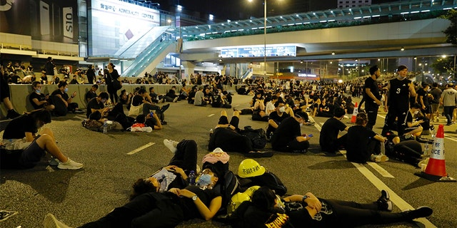 Protesters resting on the streets overnight near the Legislative Council.