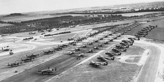 File photo - A double row of Horsa gliders flanked by Halifax bombers photographed in England before the invasion of Normandy.