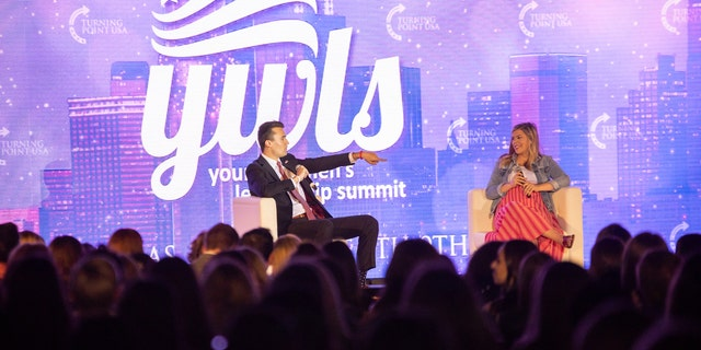 Charlie Kirk, Founder of TPUSA and Allie Stuckey, Young Women Leadership Summit Chairwoman opening night of Turning Point USA - 2019 Young Women's Leadership Summit, Thursday, June 6, 2019, in Dallas.