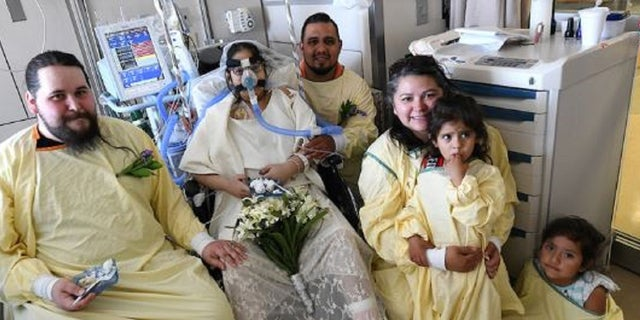 Anna Gonzales and Justin Middleton married each other in a ceremony inside Gonzales' hospital room at Indiana Unversity Health on Tuesday.