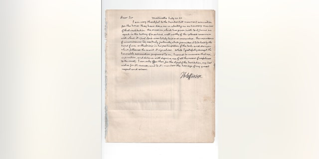 The letter from Thomas Jefferson to Edward Everett. (The Raab Collection)