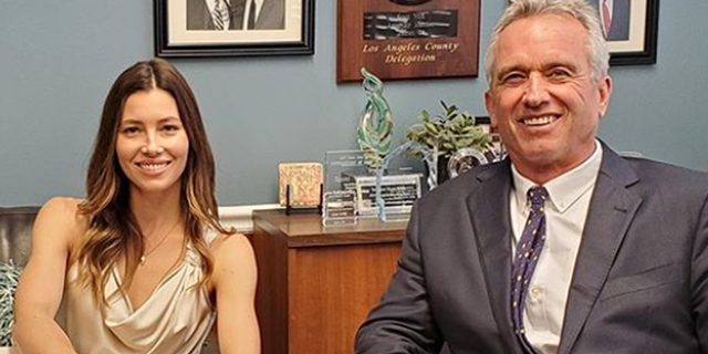Jessica Biel poses with Robert F. Kennedy Jr. during visit to California State Capitol