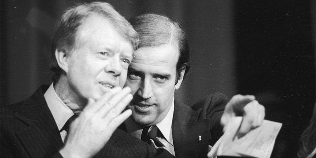 Sen. Joe Biden with then-President Jimmy Carter during a fundraiser in 1978.