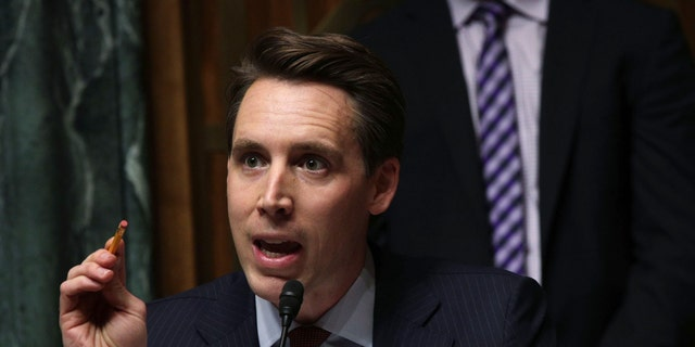 File photo - U.S. Sen. Josh Hawley (R-MO) speaks during a hearing before the Senate Judiciary Committee March 12, 2019 on Capitol Hill in Washington, DC.
