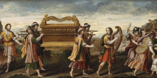 King David bearing the Ark of the Covenant into Jerusalem depicted in the early 16th century. From a private collection.