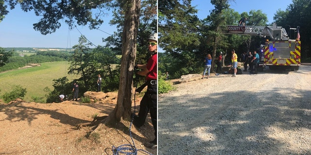 Firefighters and paramedics rescued a 17-year-old boy who fell 50 feet off a bluff in Cuivre River State Park Sunday morning.