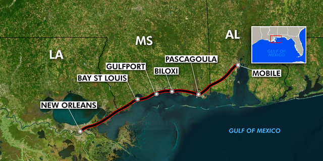 A map showing the all the stops that Amtrak's Gulf Coast line would serve. Local officials are hoping the rail line will help Gulf Coast city's benefit from New Orlean's tourism boom. (Fox News)