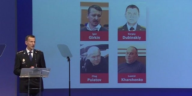 Russians Igor Girkin, Sergey Dubinskiy and Oleg Pulatov, and Ukrainian Leonid Kharchenko are named as suspects in the downing of MH17 over eastern Ukraine in 2014.