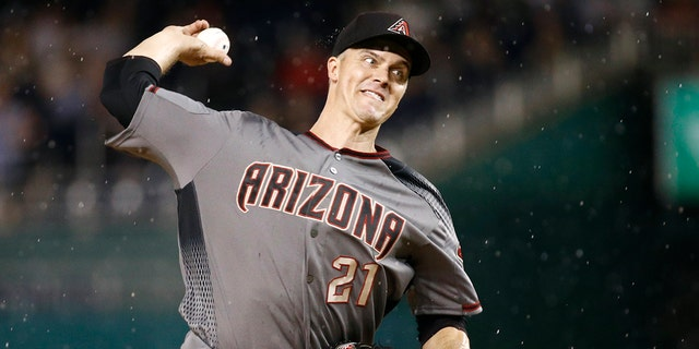 Arizona Diamondbacks starting pitcher Zack Greinke throws to a Washington Nationals batter during the eighth inning of a baseball game Thursday, June 13, 2019, in Washington. (Associated Press)
