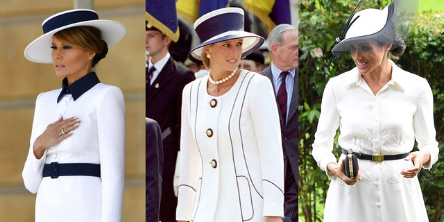 Melania Trump at Buckingham Palace (left), Princess Diana at V-J Day in 1995 (center), Meghan Markle at the Royal Ascot races in 2018.