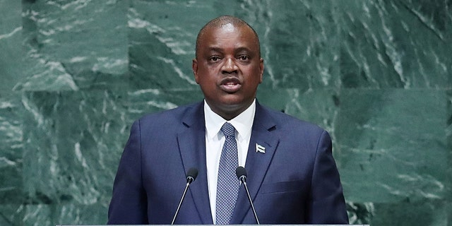 "President of Botswana Mokgweetsi Masisi, pictured here addressing the 73rd session of the United Nations General Assembly in September 2018, has said that the gay people ""deserve to have their rights protected"" like anyone else."