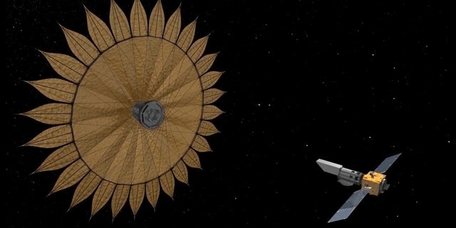 This artist's concept shows the geometry of a space telescope aligned with a starshade, a technology used to block starlight in order to reveal the presence of planets orbiting that star. (Credit: NASA/JPL-Caltech)