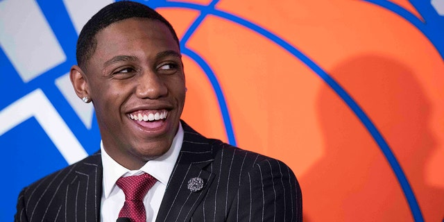 New York Knicks NBA basketball draft pick RJ Barrett speaks to reporters during a news conference, Friday, June 21, 2019, at Madison Square Garden in New York. (AP Photo/Mary Altaffer)
