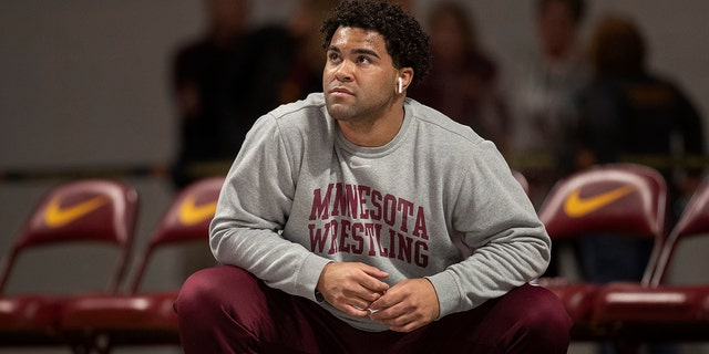 Nationally-ranked University of Minnesota heavyweight wrestler Gable Steveson and a teammate have been arrested on suspicion of criminal sexual conduct. KSTP-TV reports that jail records show Steveson and Dylan Martinez were arrested Saturday night, June 15, 2019, at different times and places in Minneapolis. (Jerry Holt/Star Tribune via AP)