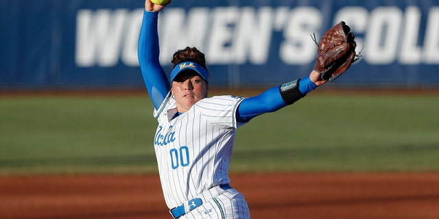 UCLA's Rachel Garcia pitches against Oklahoma during the first inning of Game 2 of the best-of-three championship series in the NCAA softball Women's College World Series in Oklahoma City, Tuesday, June 4, 2019.